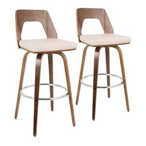 LumiSource Trilogy 30 in. Walnut and Cream Faux Leather Bar Stool (Set of 2) MSRP $320.00