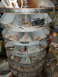Upright Circular Metal Parts Bin w/ Contents