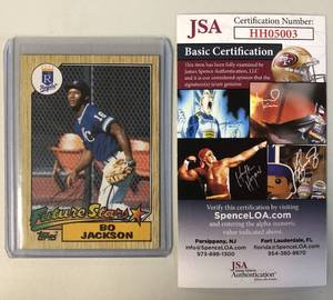 Signed Bo Jackson 1987 Topps Rookie Card Future Stars with James Spence Certificate of Authenticity - Super Cool & Rare Piece