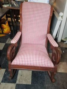 Mid Century Plaid Rocking Chair