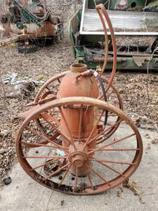 Antique Fire Extinguisher on Wheels, inspected by Underwriters Laboratories
