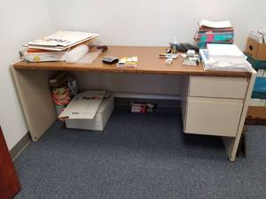 Office Desk With Contents, File Cabinet