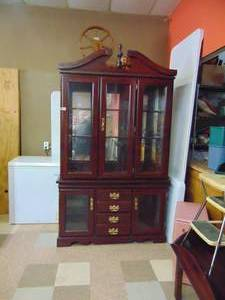 "Dark Wood China Hutch 6'10"" tall 4'2"" wide and 16"" Deep"