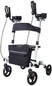 Beyour Walker Upright Walker,Stand Up Folding Rollator Walker Rolling Mobility Walking Aid with Backrest for Seniors and Adults,White