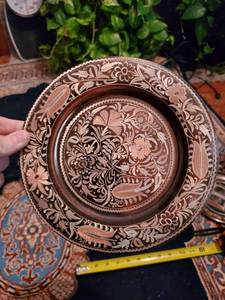 Copper Plate with Flowers Engraved with Brass Inlay