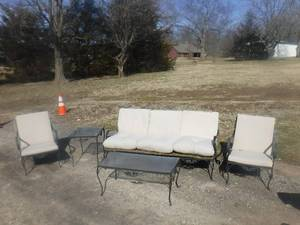 Metal patio furniture set- 2 Tables, 2 chairs and couch with cushions