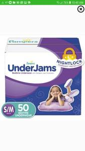 Pampers UnderJams Bedtime Underwear Girls, Size S/M, 50 Ct