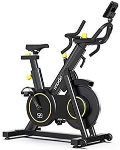 SNODE Indoor Cycling Exercise Bike - Professional Stationary Spin Bike with Tablet Holder, 40 LB Chrome Flywheel, LCD Display and Heart Pulse Monitoring for Home Gym Cardio Workout