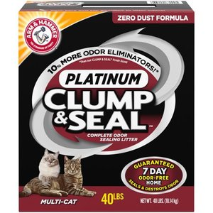 ARM & HAMMER Clump & Seal Platinum Cat Litter, Multi-Cat, 40 lb, Package Damaged