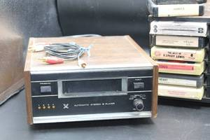Vintage Automatic Stereo 8 Track Player and Assorted 8 Tracks with Rack
