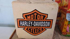 Harley Davidson carved and painted stone - heavy