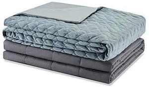 Weighted Idea Adults Weighted Blanket 15 lbs with Removable Cover 60''x80'' Grey Rhombus (Weighted Blanket + A Duvet Cover)