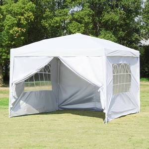 Pop Up Patio EZ Canopy Tent Heavy Duty Gazebo Pavilion Outdoor Party Commercial Instant Tents Impact Canopies,10 x 10 FT (White with sidewalls)