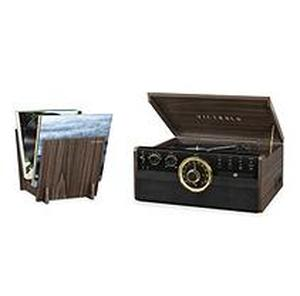 Victrola 6-in-1 Wood Bluetooth Mid Century Record Player with 3-Speed Turntable, CD, Cassette Player and Radio with
