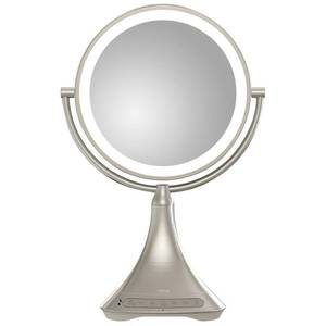 iHome 9inch Portable and Rechargeable Double Sided Vanity Mirror with Bluetooth
