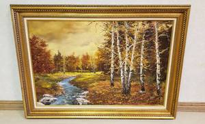 Large Framed Oil Painting by Istvan Porubszky ~ Aspens & Creek Landscape Scenery ~ 36 in. x 24 in. ~ Framed: 43 in. x 31 in.
