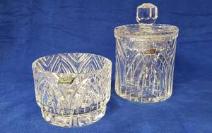 Collection of Violetta Handcut 24% Lead Cristal ~ Made in Poland ~ Vase (5 1/2 diameter) & Candy/Tobacco Jar (8 1/2 in. tall w/lid)