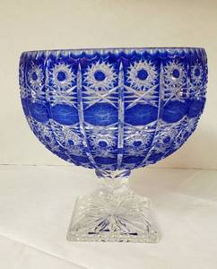 Cobalt Blue Cut to Clear Czech Bohemian Glass Large Round Bowl on Pedestal ~ 9 1/2 in. x 9 1/2 in. tall