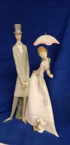 "Lladro #4563 -  Extra Large ""Edwardian Couple with Parasol"",  Man w/Cane & Woman w/Parasol Collector Statue - No Box"