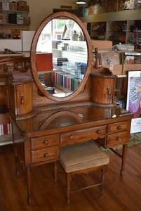 "Harrison Solid Oak Vanity Desk w. Mirror, Glass Top, & Stool Made in Arkansas, USA 68"" H x 30"" W x 22"" D (Matches lots 3203, 3204, 3205) -LOCAL PICKUP ONLY"
