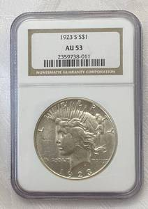 Liberty head peace dollar 1923 graded NGC AU53 sealed in case