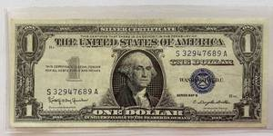 ONE DOLLAR SILVER CERTIFICATE - SERIES 1957 B