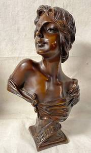 Vintage French Bronze Bust Sculpture SEULE! by Emmanuel Villanis Depicting a Roman Goddess - HTF! Highly Collectible!