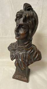 "Vintage French Bronze Bust Sculpture ""RETOUR DU BAL"" by Emmanuel Villanis Depicting an Art Nouveau maiden - HTF! Highly Collectible!"