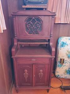 Ornate Antique Walnut Record Cabinet with Built in Speaker