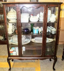 Antique Queen Anne Style Walnut Glass Display Cabinet