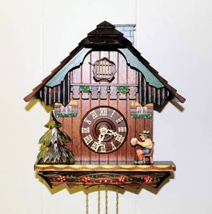 "German Cuckoo Clock with Moving Beer Drinker and Chimney Sweep 11"" Tall - pinecone weights have been located"