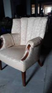 Vintage Armchair w/ Wood Arm Accents & Wood Legs
