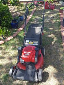 Troy-Bilt self-propelled lawn mower with bagger, runs, electric start does not work. believed to be approximately 3 years old
