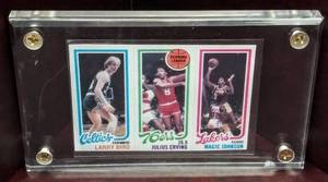 1980 TOPPS Larry Bird, Magic Johnson, & Julius Erving Card in Case