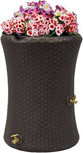 Good Ideas IMP-N50-DBR Impressions Nantucket Rain Saver Rain Barrel, 50 Gallon, Dark Brown MSRP $152
