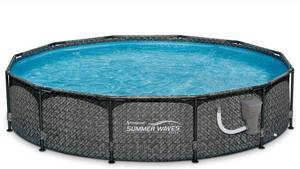 Summer Waves 12ft x 33in Round Above Ground Outdoor Frame Basket Weave Swimming Pool with Filter Pump MSRP $570