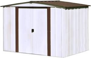 Arrow 8' x 6' Newburgh Eggshell with Coffee Trim Low Gable Electro-Galvanized Steel Storage Shed MSRP $433.97