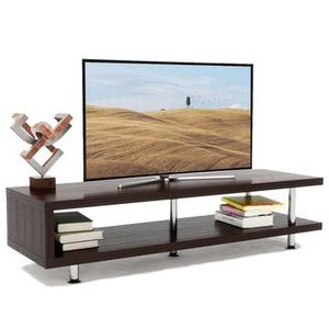 Bestier Short TV Stand with 2-Shelf Storage, 47inch Media Furniture Wood Storage Console with Steel Frame
