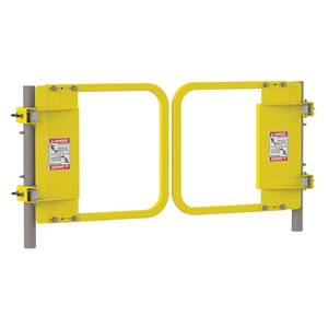 "PS Safety LSGDBL-18 Paired Safety Gate 34"" - 40.5"" Opening Safety Yellow"