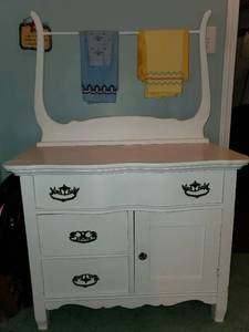 White Wash Table with Ornate Handles and Dry Bar