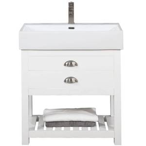 Gavin 30 in. W x 16.5 in. D Bath Vanity in White with Porcelain Vanity Top in White with White Basin by Design Element