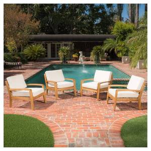 Grenada 4pc Wooden Patio Club Chairs by Christopher Knight Home