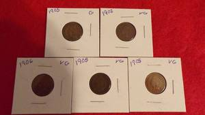 5 - INDIAN HEAD PENNIES  1902-VG, 1905-G, 2 - 1905-VG, 1906-VG