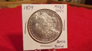 1879 MORGAN SILVER DOLLAR  MS63 DEEP MIRROR PROOF LIKE (DMPL) TONING ON REVERSE