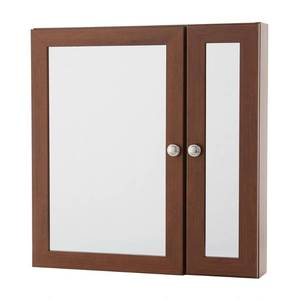 Home Decorators Collection 24 in. W x 24 in. H Fog Free Framed Surface-Mount Bi-View Bathroom Medicine Cabinet in Chestnut (Brown)