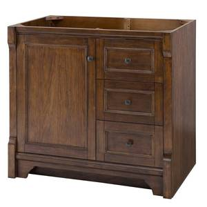 Home Decorators Collection Creedmoor 36 in. W Bath Vanity Cabinet Only in Walnut with Right Hand Drawers