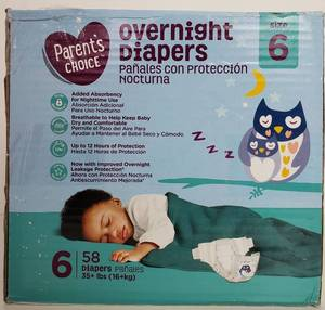 Parent's Choice Overnight Diapers, Size 6, 58 Diapers