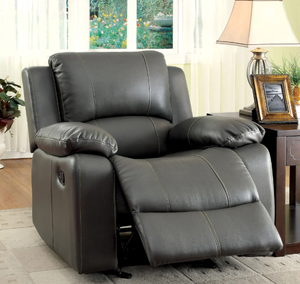 Furniture of America Aine Transitional Grey Bonded Leather Recliner