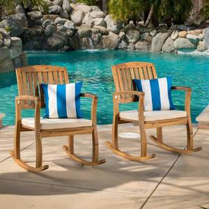 Lucca Outdoor Acacia Wood 2-piece Rocking Chair Set with Cushion by Christopher Knight Home