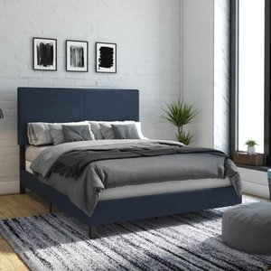 DHP Janford Upholstered Bed, Queen, Navy Linen